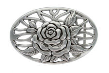 OVAL ANTIQUE ENGRAVED ROSE FLOWER BUCKLE WOMEN'S BELT BUCKLE fits up to 1-1/2""
