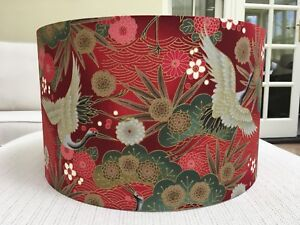 Handmade Lampshade Japanese Oriental Cranes Fabric Floral Birds Exotic Red