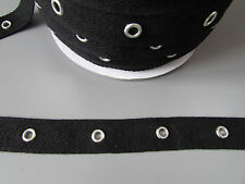 "Black Twill Eyelet Trim/Tape 2cm 3/4""  Sewing/Costume/Crafts/Corsetry/Punk"