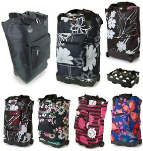 Funky Folding Lightweight Shopping Bag on 2 Wheels with Adjustable Dual Strap