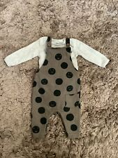 NEXT, GEORGE BABY BOYS 0-3 MONTHS CIRCLE DUNGAREES, OUTFIT BUNDLE COMBINE POST