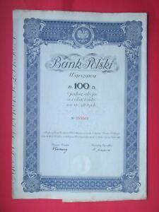 BANK POLSKI WARSZAWA 1934r. Jedna Akcja na Okaziciela na Sto Zlotych