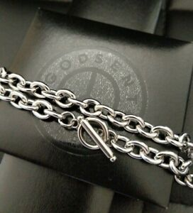 """16"""" - 24"""" Stainless Steel 316L Silver T Bar Toggle Link Chain Necklace 8 MM UK"""