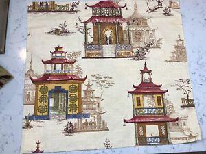 vintage fabric swatch Chinoiserie print Stroheim & Romann Far Pavilions