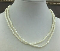 Vintage Necklace Mother of Pearl Rice bead Silvertone Strand