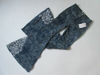 NWT Free People Float on Dot Print Embroidered Embellished Super Flare Jeans 27