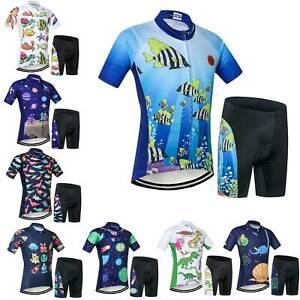 Kids Cycle Clothing Set Short Sleeve Boys Girls Cycling Jersey Shorts Summer Kit