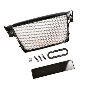 AUDI A4 S4 B8 2008-2012 RS STYLE GRILLE GLOSS BLACK HONEYCOMB RADIATOR BUMPER