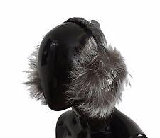 13005b79f0d Dolce   Gabbana Ear Muffs Gray Fox Fur Crystal Paraorecchie Hair Head