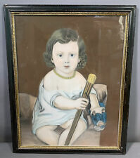 19thC Antique VICTORIAN CHILD PORTRAIT Old GOLD Jewelry FOLK ART Pastel PAINTING