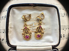 Vintage 50s Ruby Paste Seed Pearls Gold Plated Clip On Earrings Signed Patented