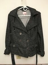 Junior Girls Black and White Jacket with Hood by BONGO Size Med