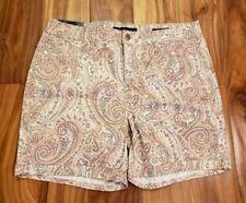 BANDOLINO Women's Paisley Shorts Size 14 Creamstone Stretch Amy Shorts NWT