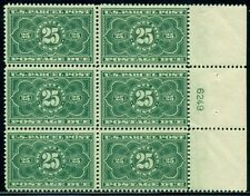 US #JQ5 25¢ dark green, Plate No. Block of 6, og, NH, VF, Scott $6,000.00
