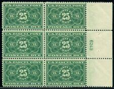 US #JQ5 25¢ dark green, Plate No. Block of 6, og, NH, VF, Scott $6,000.00