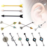 316L Surgical Steel Tribal Arrow Industrial Barbell Earring Cartilage Piercing