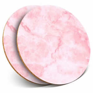 2 x Coasters - Pink Marble Effect Stone Agate Art Home Gift #24017