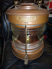 ToplichtAntique Large Heavy Copper & Brass Ship Marine Light Conved Electric 16""