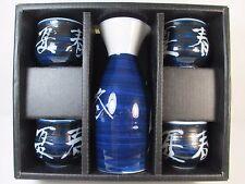 Vintage 5 Piece Boxed Porcelain Sake Rice Wine Set Cups & Bottle Dark Blue White