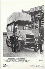 Bus Postcard - Liverpool Corporation - A.E.C. YC No.K1592 - June 1919   V2237