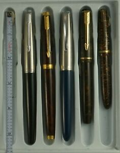 LOT OF 5 VINTAGE FOUNTAIN PENS, 4 PARKER, 1 VAC CLONE,  FOR PARTS OR REPAIR