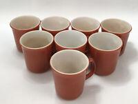 Set of 8 Pyrex CINNAMON Rust Orange Milk Glass Coffee Cups Mugs D-Handles AA