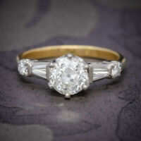 ANTIQUE EDWARDIAN DIAMOND RING 1.49CT DIAMOND SOLITAIRE 18CT GOLD PLATINUM