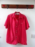 VINTAGE PURE SILK ladies true red short sleeved boho oversize shirt/blouse M/L