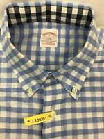 Brooks Brothers 346 Long Sleeve Button Shirt Blue White Gingham Check Mens Sz L