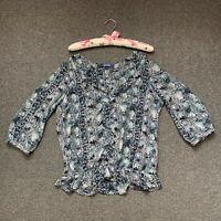 Next Blouse Size 12 EU 38 Navy Blue 3/4 Sleeve Floral Summer Shirt