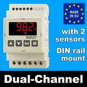 DIN RAIL Differential Temperature Controller Dual channel THERMOSTAT 2 IN +2 OUT