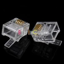 50 Pcs Durable 4 Pin RJ-11 6P4C Modular Plug Telephone Connector sa#10