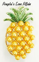VINTAGE STYLE GOLD ENAMEL FAUX PEARL MULTI  PINEAPPLE WITH LEAVES BROOCH PIN