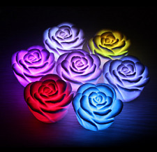 7 Color Changing Rose Flower Candle LED Night Light Romantic Valentines Lamp
