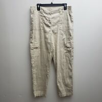 Chico's Linen Blend Crop Pants Size 1.5/M/10 Beige Side Stripe Straight Cargo