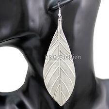 Vintage Silver Big Textured Leaf Feather Zuni Navajo Dangle Earrings Boho Gift H
