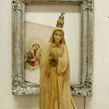 Vintage Fatima Virgin Mary rhinestones crown musical box statue kitsch religious