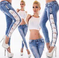 Mujer Cadera Vaqueros pantalón pitillo Blanco Encajes De Ganchillo Flores Estrás
