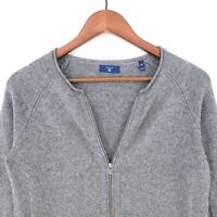 GANT Grey Cardigan Cotton Wool Blend Jumper Sweater Size XS