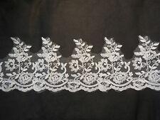 Floral ivoire nuptiale robe / bordure en dentelle ourler dentelle 8-16cm. Largeur par yard