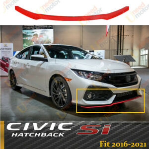 For 2017-2021 CIVIC Hatchback & Si HFP STYLE FRONT BUMPER LIP SPOILER Glossy Red