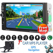 "GPS Nav 7"" Touch 2 DIN Car MP3 MP5 Player Radio Stereo Bluetooth FM +Camera +Map"