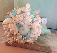 XO Bouquets Bride 21 Inch Bouquet Sea Shells Bride Pearl Handle