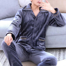Mens Sherpa Flannel Pajamas Tops Pants Winter Warm Plush Robes Sleepwear 2PC Set