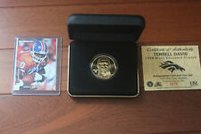 Terrell Davis Autographed Card and 24K Coin Set Limited Edition 0273/1,500