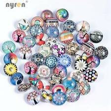 50pcs/lot New Mix 18mm Glass snap button Fit 18mm snap button DIY Snaps Jewelry