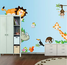 Jungle Wild Animal Zoo Wall Sticker Decal Mural For Kids Nursery Baby Home Decor