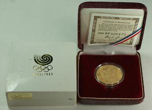 1987/1988 Seoul South Korea 25,000 Won Fan Dance 1/2 Oz Olympic Gold Proof Coin
