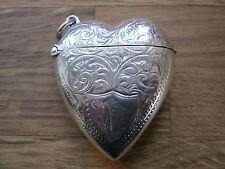 Antique Style English Hallmarked Sterling Silver Heart Vesta Case Match Striker