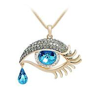 Gold Filled Angle Blue Evil Eye Amulet Crystal Necklace Pendant Long Chain Gift